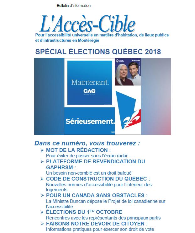 L'Accès-Cible SPÉCIAL ÉLECTIONS QUÉBEC 2018